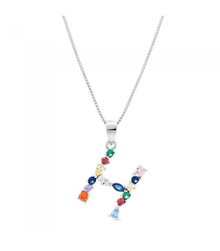 Colgante plata Inicial  Letra H Pilar Breviati con circonitas multicolor
