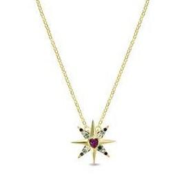 Colgante plata Syrys Luxenter estrella circonitas multicolor con corazón  central dorado