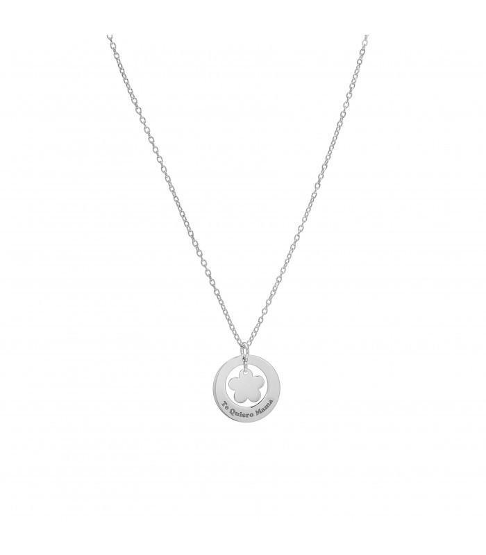 Colgante de plata Pilar Breviati redondo con flor en el centro y Te quiero Mamá