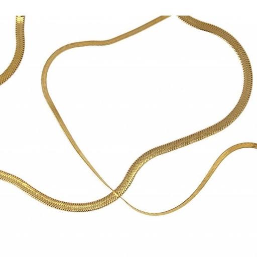 Colgante acero  Anartxy plano 4mm tipo serpiente dorado [2]