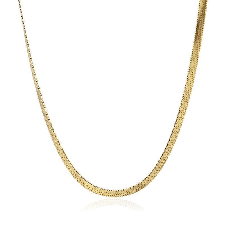 Colgante acero  Anartxy plano 4mm tipo serpiente dorado