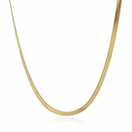 Colgante acero  Anartxy plano 4mm tipo serpiente dorado [0]