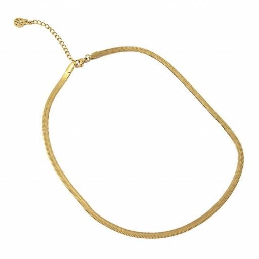 Colgante acero  Anartxy plano 4mm tipo serpiente dorado [1]