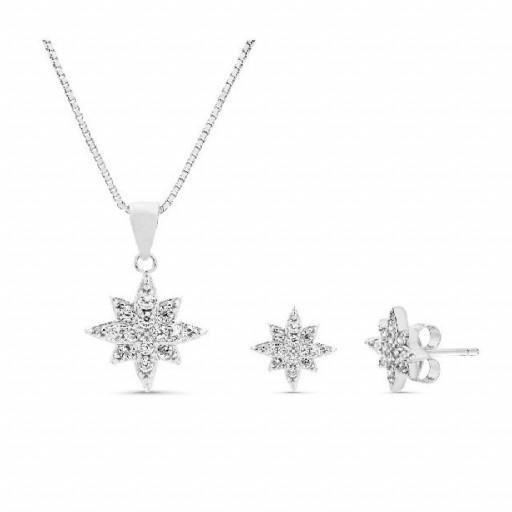 Conjunto  plata Pilar Breviati  formado por colgante y pendientes  con estrella del norte circonitas blancas