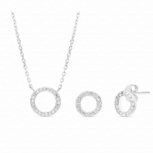 Conjunto  plata Pilar Breviati  formado por colgante y pendientes  pequeños círculo calado circonitas blancas