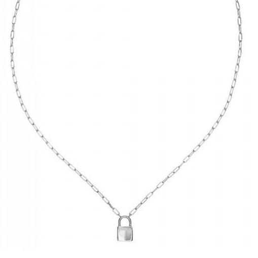 Colgante de plata Pilar Breviati  eslabón rectangular con candado plata lisa