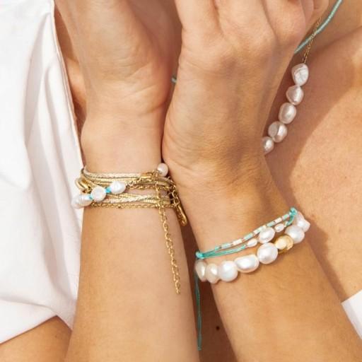 Pulsera acero Anartxy perlas dorada [2]