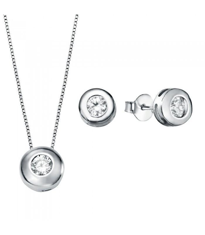 Conjunto  plata Pilar Breviati  formado por colgante y pendientes chatón 5mm circonita blanca colgante 7mm