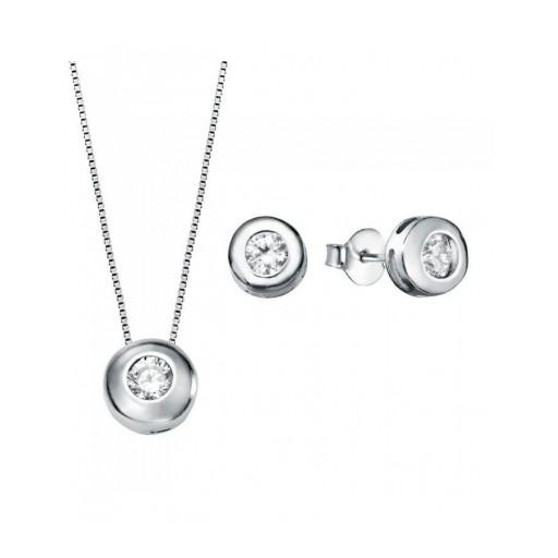 Conjunto  plata Pilar Breviati  formado por colgante y pendientes chatón 4mm circonita blanca colgante 5mm
