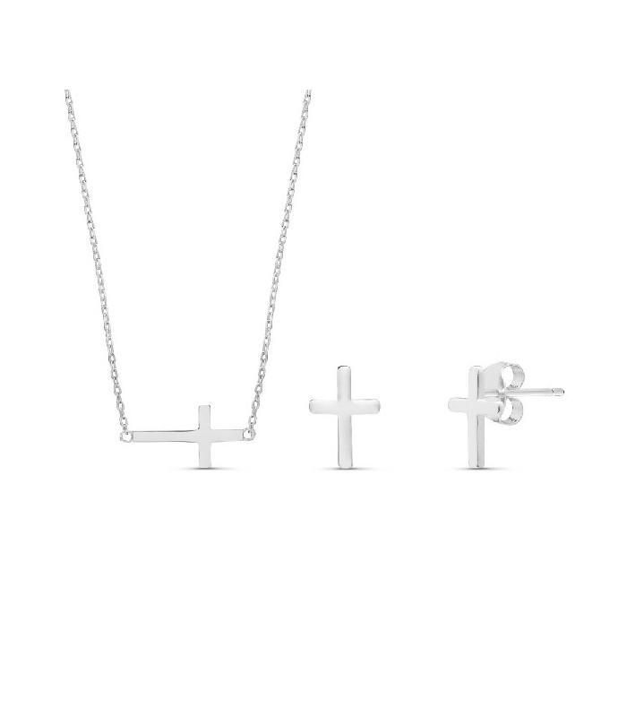Conjunto  plata Pilar Breviati  formado por colgante y pendientes con cruz en plata lisa