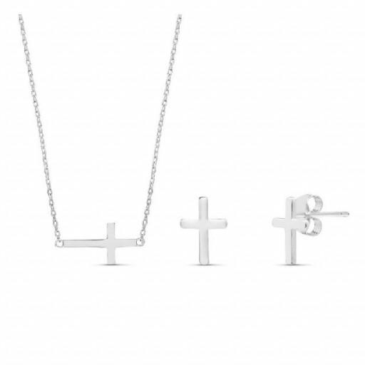 Conjunto  plata Pilar Breviati  formado por colgante y pendientes con cruz en plata lisa [0]