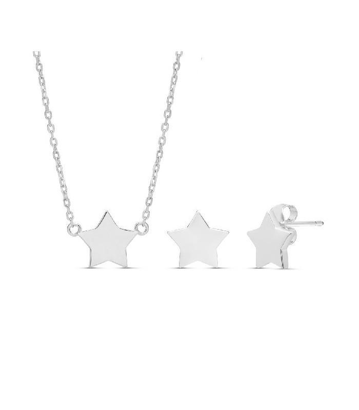 Conjunto  plata Pilar Breviati  formado por colgante y pendientes con estrella en plata lisa