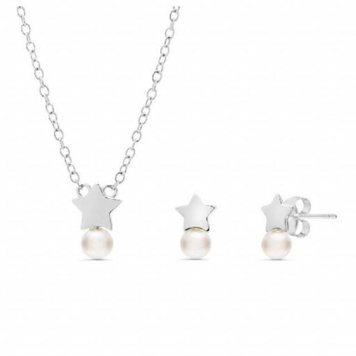 Conjunto  plata Pilar Breviati  formado por colgante y pendientes tu y yo con estrella y perla