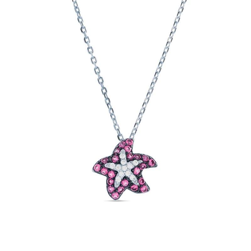 Collar plata Tesyl Luxenter circonita rubí