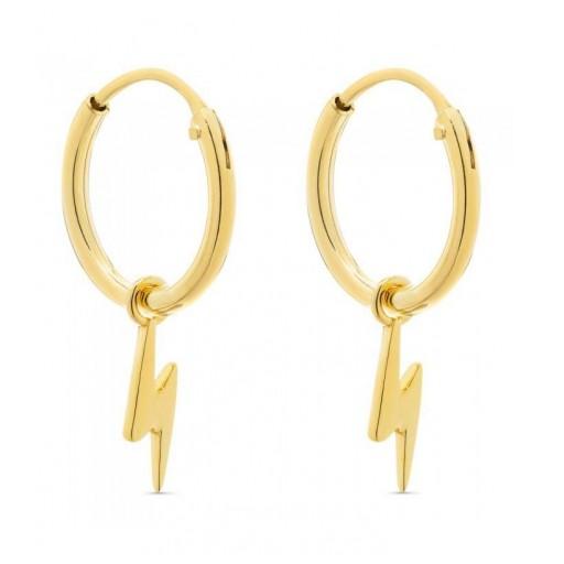 Aros de plata Pilar Breviati  13mm con charms extraible rayo dorados