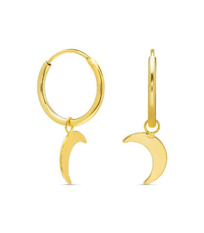 Aros de plata Pilar Breviati  13mm con charms extraible luna dorados