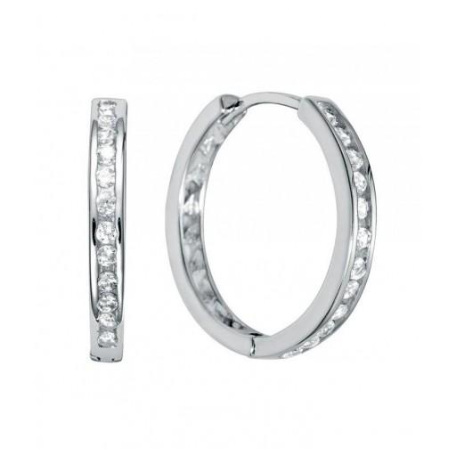 Aros de plata Pilar Breviati  con circonitas blancas engastadas 21mm