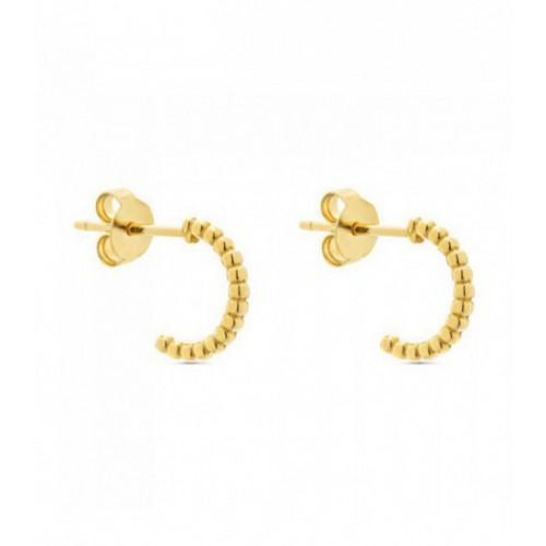 Aros de plata Pilar Breviati  pequeños con forma bolitas dorados