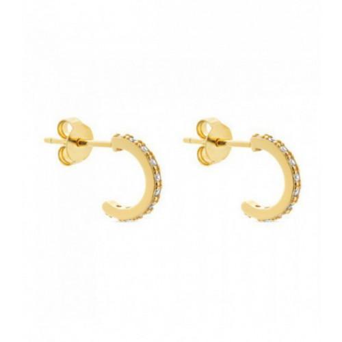 Aros de plata Pilar Breviati  pequeños con  circonitas blancas dorados