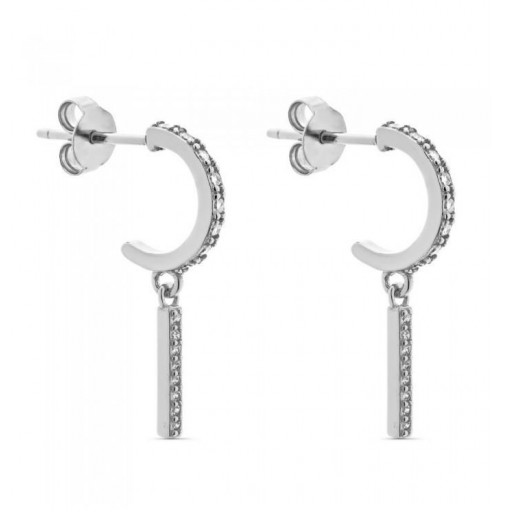Aros de plata Pilar Breviati  pequeños con circonitas  y motivo barra con circonitas