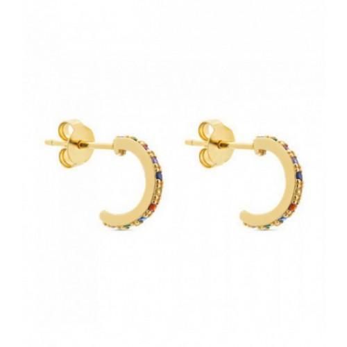 Aros de plata Pilar Breviati  pequeños con  circonitas multicolor dorados