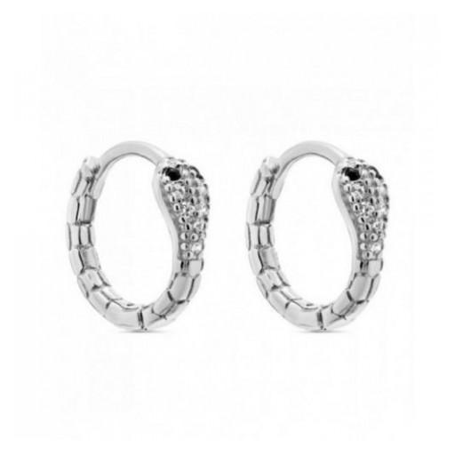 Aros de plata Pilar Breviati  pequeños con forma serpiente y circonitas