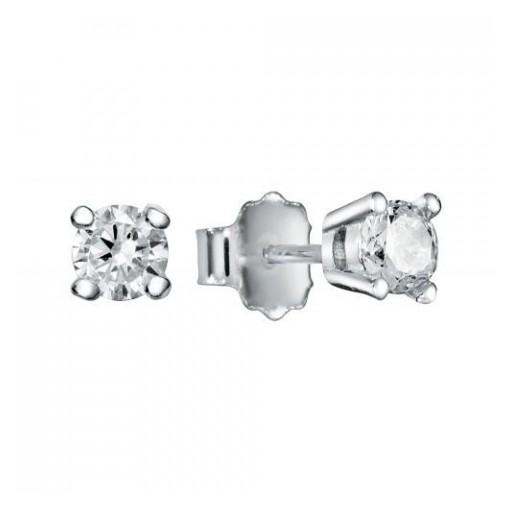 Pendientes  plata Pilar Breviati  pequeños  circonita blanca 4mm