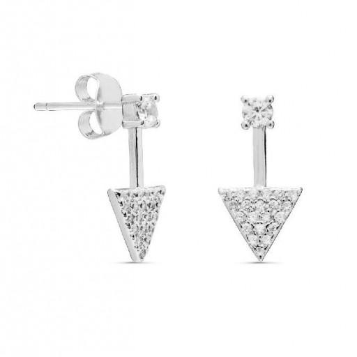 Pendientes  plata Pilar Breviati  con circonita  y  pavé de circonitas blancas triangular