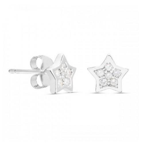 Pendientes  plata Pilar Breviati  pequeños estrellas con circonitas blancas