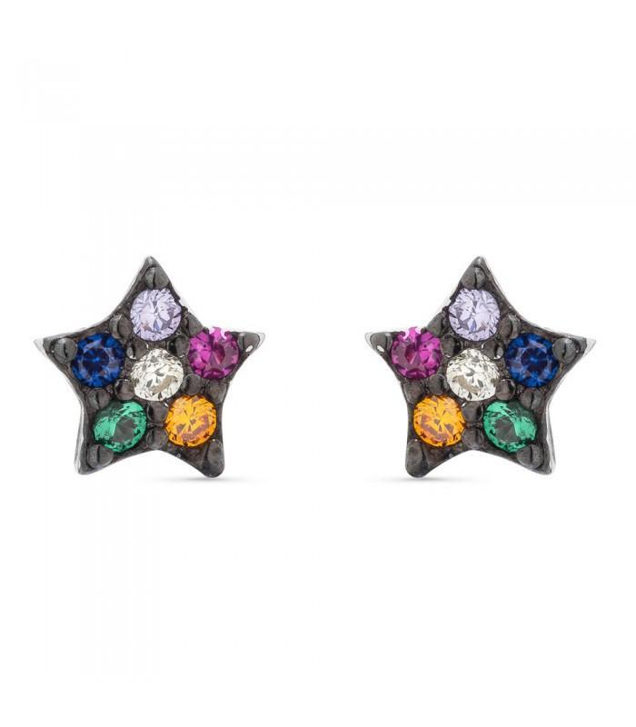 Pendientes  plata Pilar Breviati  pequeños estrellas con circonitas multicolor