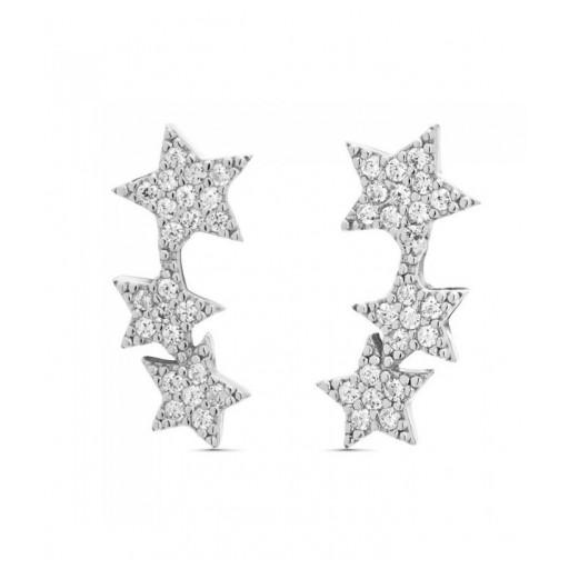 Pendientes  plata Pilar Breviati  trepador tres estrelllas circonitas blancas