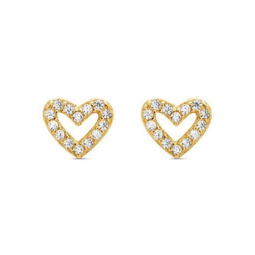 Pendientes  plata Pilar Breviati  pequeños  corazón  circonitas blancas dorados