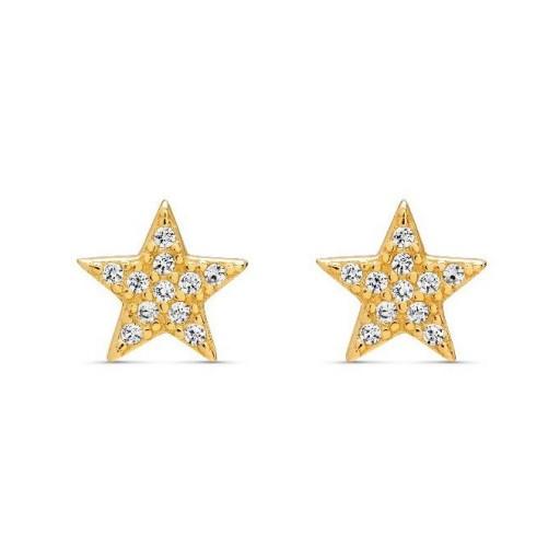 Pendientes  plata Pilar Breviati  pequeños  estrella  circonitas blancas dorados