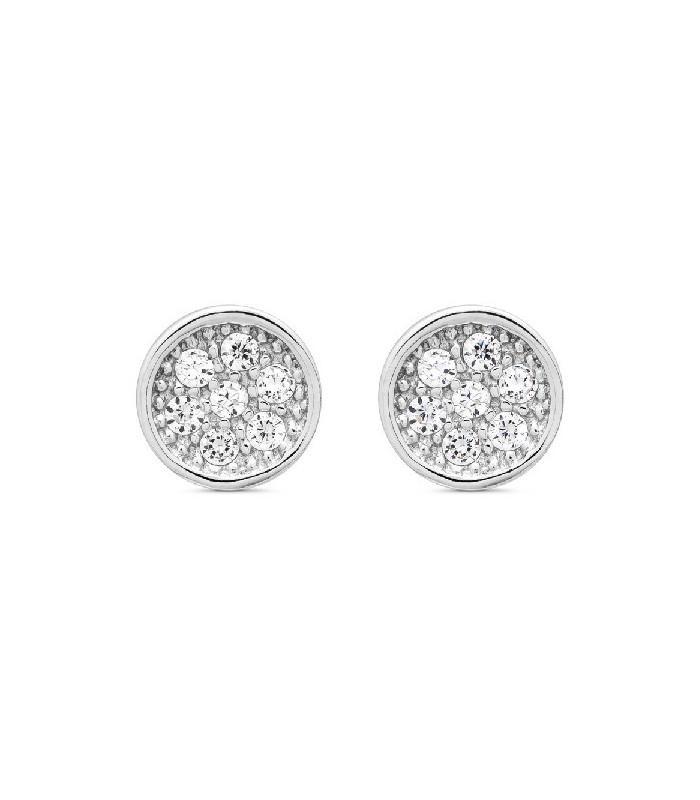 Pendientes  plata Pilar Breviati  pequeños redondos  circonitas blancas