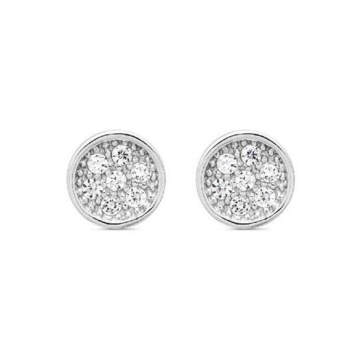 Pendientes  plata Pilar Breviati  pequeños redondos  circonitas blancas [0]