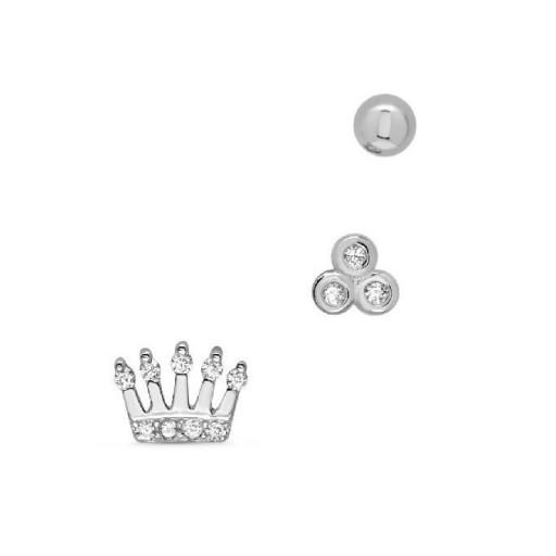 Set  tres pendientes  plata Pilar Breviati  formados por corona, circonitas y bola
