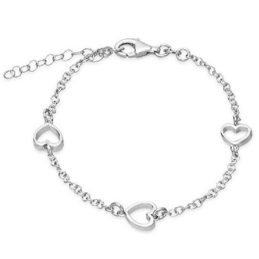 Pulsera de plata Pilar Breviati, cadena con tres corazones calados