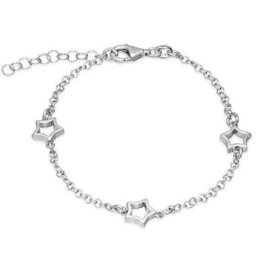 Pulsera de plata Pilar Breviati, cadena con tres estrellas caladas