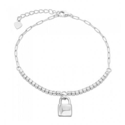 Pulsera de plata Pilar Breviati, eslabón rectangular con circonitas blancas y candado en el centro