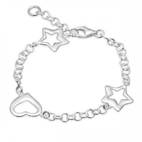 Pulsera de plata Pilar Breviati, cadena con dos estrellas irregulares y un corazón