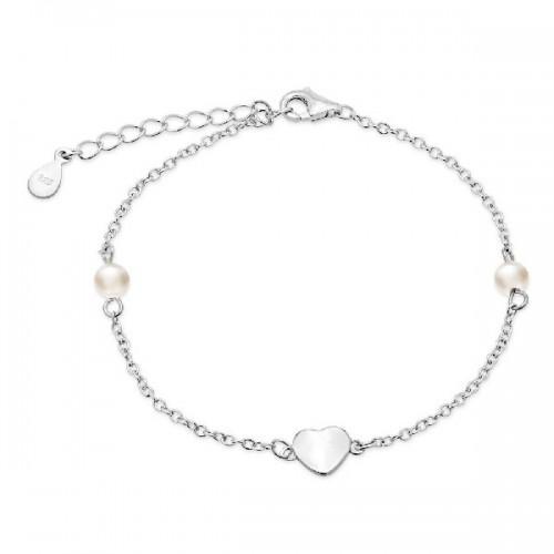 Pulsera de plata Pilar Breviati, cadena corazón y perlas