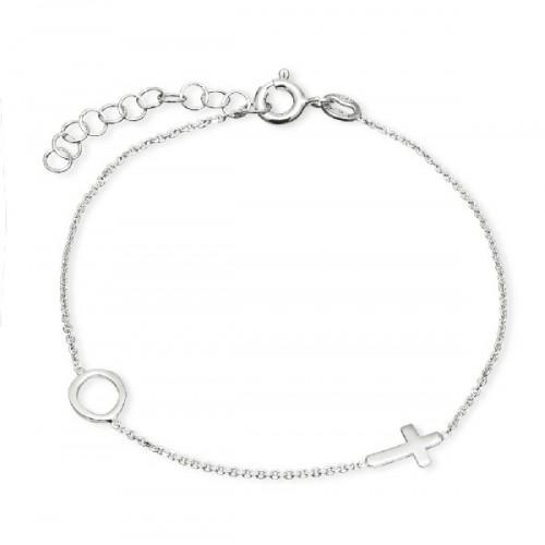 Pulsera de plata Pilar Breviati, cadena con círculo y cruz lisa