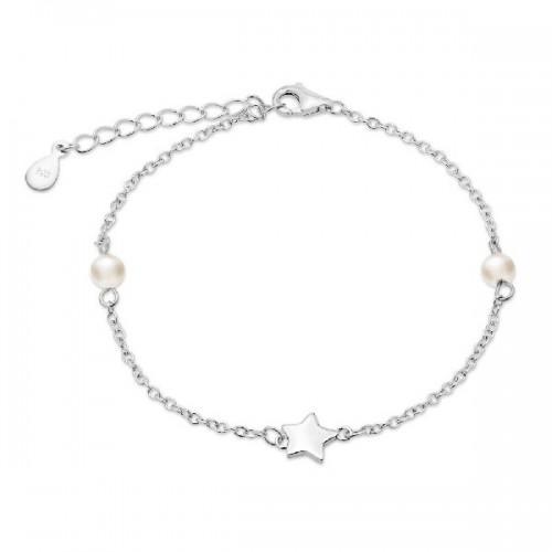 Pulsera de plata Pilar Breviati, cadena estrella y perlas