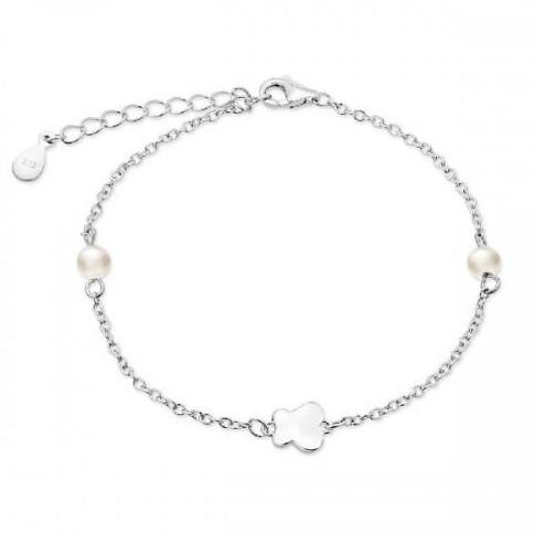 Pulsera de plata Pilar Breviati, cadena mariposa y perlas
