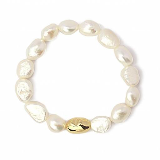 Pulsera acero Anartxy perlas dorada [1]
