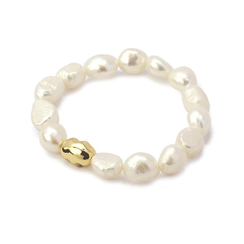 Pulsera acero Anartxy perlas dorada
