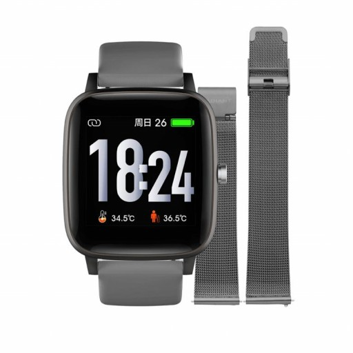 Smart watch de Radiant   Queensboro 35mm IP Negro doble correa gris