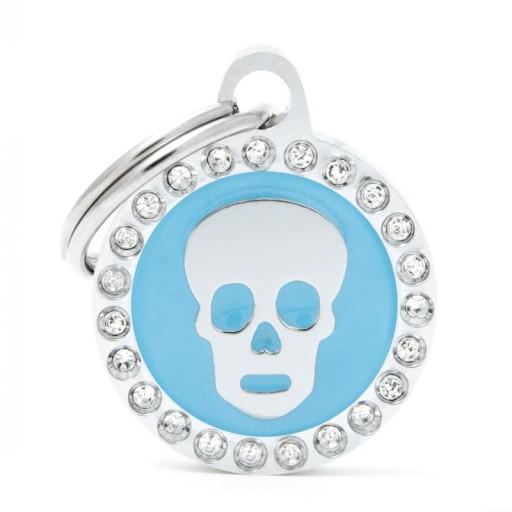 Placa Calavera Azul Círculo con Brillantes
