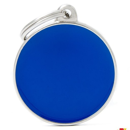 Placa Círculo Grande Azul Handmade