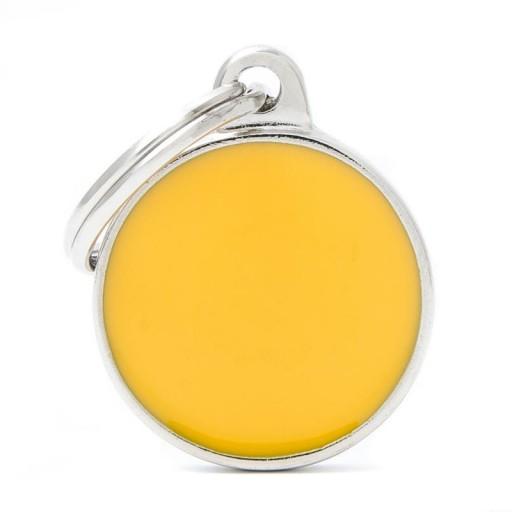 Placa Círculo Pequeño Amarillo Handmade